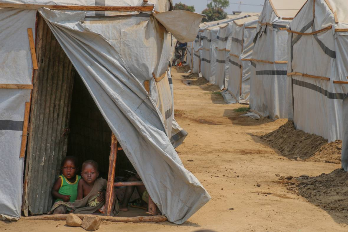 Children in tent in refugee camp in Burundi
