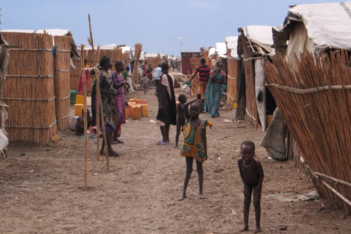 IDP camp South Sudan - reed huts - When disaster meets conflict