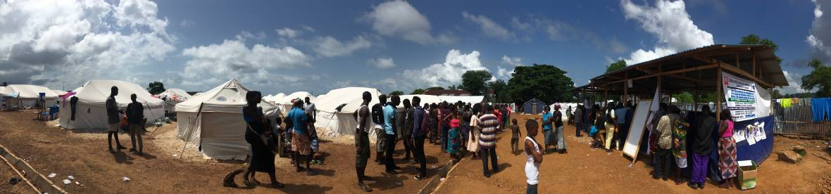 Sierra Leone - Juba IDP camp - tents and food truck - When disaster meets conflict