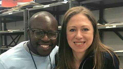 Levis Maina Nderitu and Chelsea Clinton